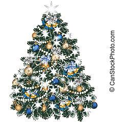 adornado, pelotas, árbol, navidad