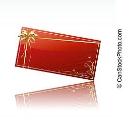 adornado, tarjeta obsequio, rojo