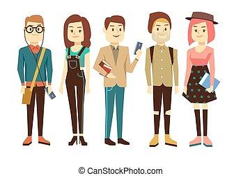 Groupe Etudiants Telephones Universite Livres College Style