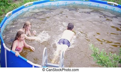 ados, jeune, sauter, dehors, amis, piscine, natation