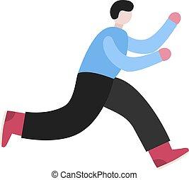 adquira, character., time., tarde, corrida pessoa, pressa, apressar-se, homem
