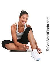 adquira, jovem, americano, africano feminino, pronto, exercício, feliz