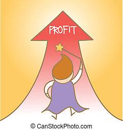 adquira, lucro, personagem, cima, mágico, caricatura
