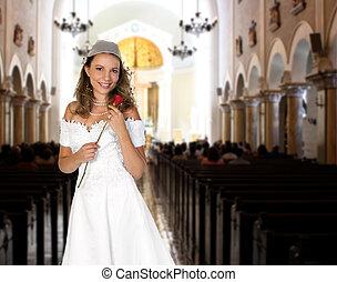 adquira, rosa, casado, noiva, esperando, segurando