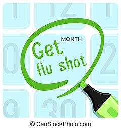adquira, tiro flu, cartaz, com, manchete, título, vetorial,...