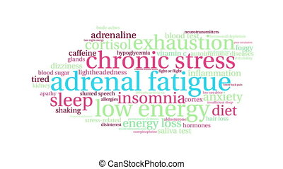 Adrenal Fatigue word cloud on a white background.