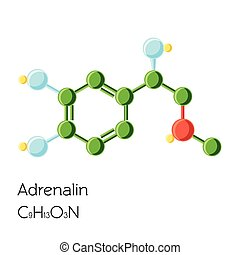 Adrenalin, Adrenaline, Epinephrine hormone structural chemical formula isolated on white background.
