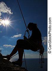 adrenalina, sport, -, silhouette, di, uno, arrampicatore, sopra, il, mare