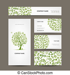 adreskaartjes, ontwerp, groene, ecologie, concept