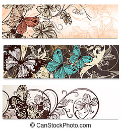 adreskaartjes, set, in, floral, stijl, met, vlinder, voor,...