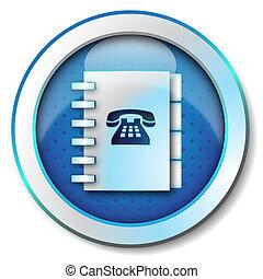 Adress book telephone numbers icon - Illustration metallic...