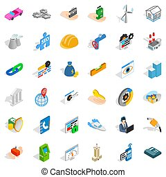 Adress icons set, isometric style