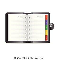 adress, illustration, réaliste, vecteur, icône, livre ouvert