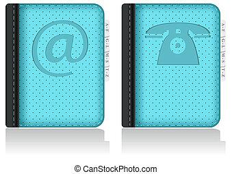 adressbook, cahier, phonebook., vector.