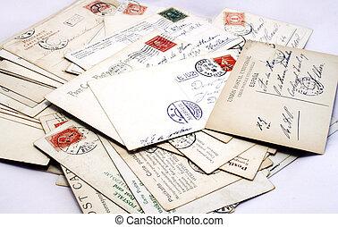 adresses, vindima, carimbos postais, postais, selos