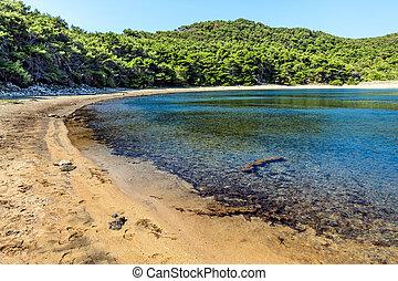 adria, landschaftsbild, -, sandiger strand