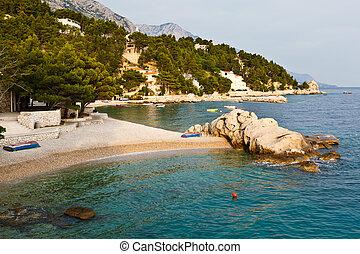adria, sandstrand, in, brela, dorf, kroatien