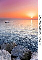 adriaterhavet, solnedgang
