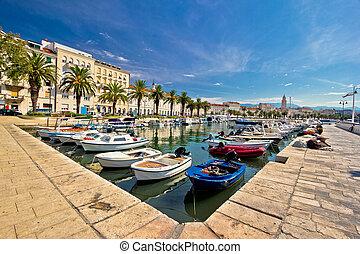 Adriatic city of Split seafront view, tourist destination in Croatia, Dalmatia