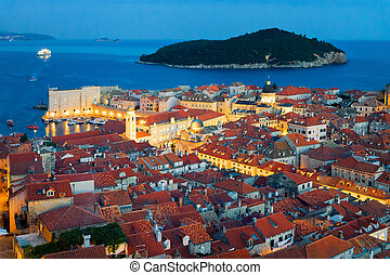 Adriatic Sea and Old town with St Blaise church Dubrovnik