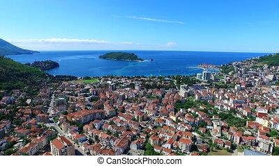 Adriatic Sea Coast Landscape. Budva town, Montenegro -...