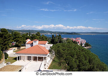 Adriatic sea coast landscape in Portoroz, Slovenia