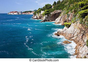 Adriatic Sea coastline in Croatia, South Dalmatia, near Dubrovnik