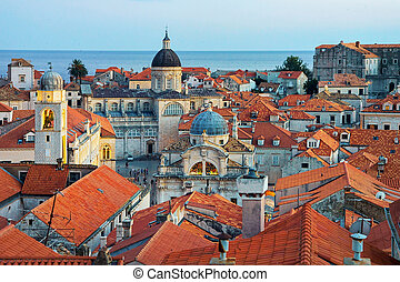 Adriatic Sea with Old town and St Blaise church Dubrovnik