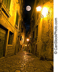 Adriatic street - Night view of a street typical for ...