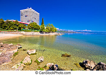 Adriatic town of Opatija beach and waterfront view