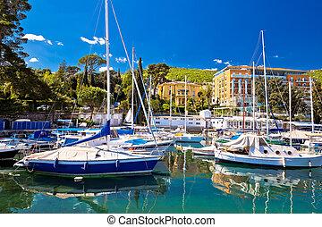 Adriatic town of Opatija turquoise harbor view - Adriatic ...