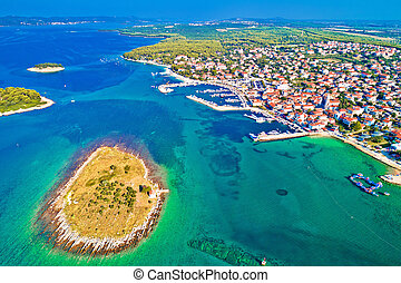 Adriatic town of Pakostane waterfront aerial view