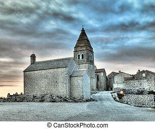 Adriatic Village - Lubenice. Croatian village on the rocky ...