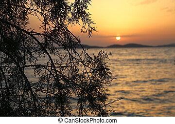 adriatisch, ondergaande zon , kroatië