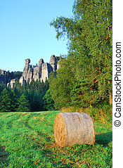 Adrspach sandstone towers with a bale of hay