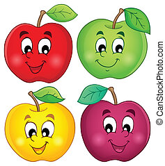 adskillige, æbler, samling, 3
