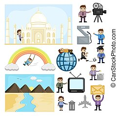 adskillige, cartoon, begreb, vectors