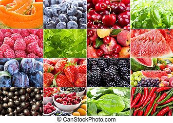 adskillige, frugter, berries, urter, og, grønsager