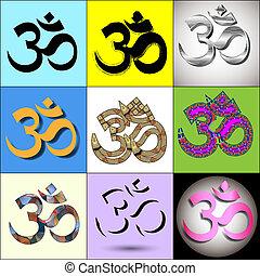 adskillige, om, aum, symbol