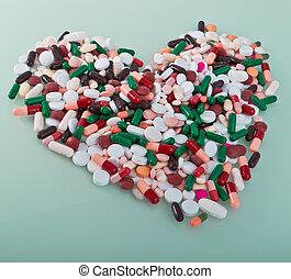 adskillige, pillerne, ind, en, facon, i, hjerte