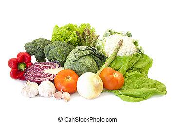 adskillige, planter, og, grønsager, sund diæt