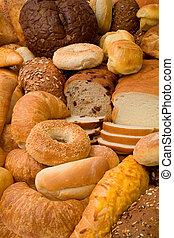 adskillige, typer, i, bread