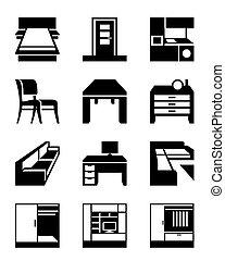 adskillige, typer, i, furniture