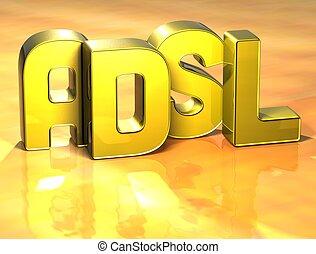 adsl, słowo, tło, żółty, 3d