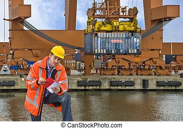 aduana, control, en el trabajo, en, un, comercial, puerto
