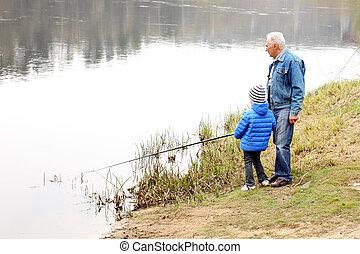 aduelo, y, nieto, ser, pesca