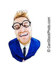 adulation - Funny smart guy in a suit and spectacles sugary...