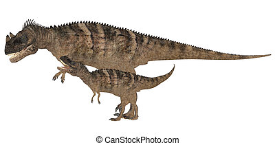 Adult and Young Ceratosaurus - Illustration of an adult and...