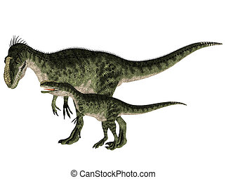 Adult and Young Monolophosaurus - Illustration of an adult...
