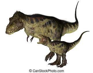 Adult and Young Tyrannosaurus